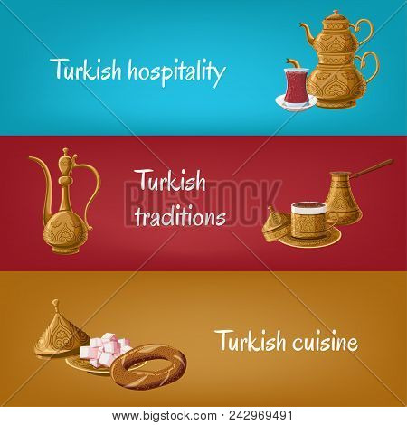 Turkish touristic banners with brass utensils double teapot, tea glass, locum, pitcher, coffee, simit. Turkish hospitality, traditions, cuisine. Travel to Turkey concept. Cartoon vector illustration stock photo