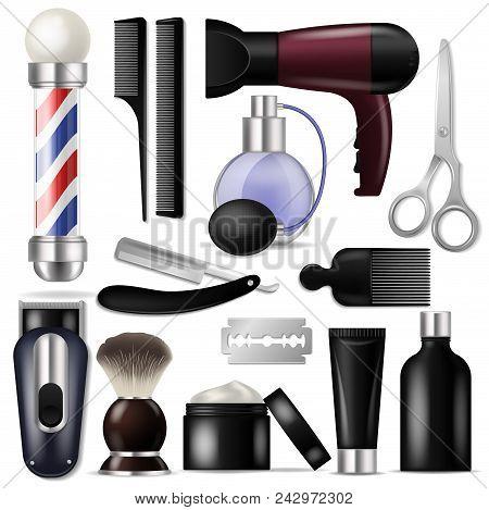 Barber vector barbershop equipment or hairdresser tools for haircutting illustration shaving-set of razor scissors and hairbrush or hair dryer isolated on white background. stock photo