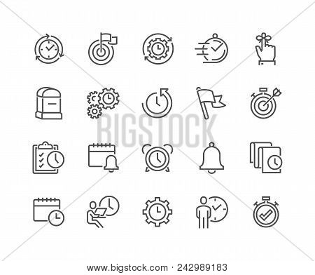 Simple Set Of Time Management Related Vector Line Icons. Contains Such Icons As Milestone, Reminder,