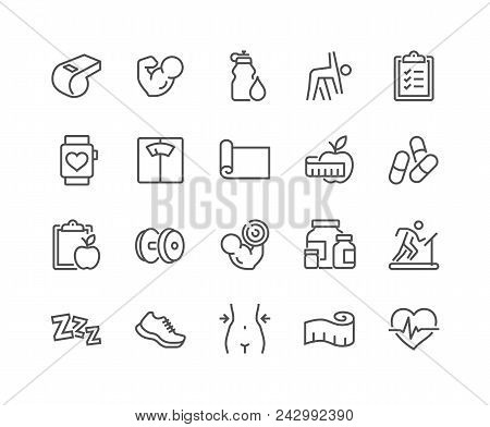 Simple Set Of Fitness Related Vector Line Icons. Contains Such Icons As Workout, Sleep, Diet Plan, S