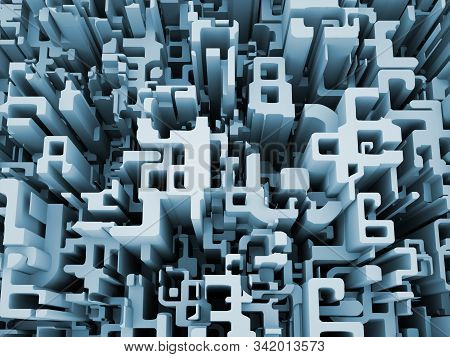 3D Rendering of fragmented numbers on the subject of math, science and digital reality. stock photo