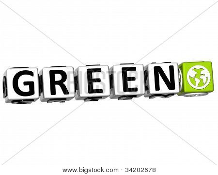 3D Green Button Click Here Block Text over white background stock photo