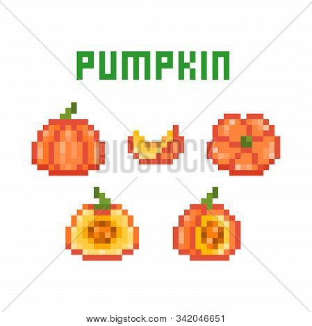 Set of pixel art round orange pumpkins (uncut, cut in half, sliced) isolated on white background. Collection of 8 bit vegetable icons. Old school vintage retro 80s-90s slot machine/video game graphics stock photo