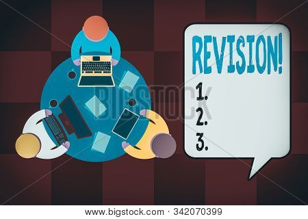 Handwriting text writing Revision. Concept meaning action of revising over someone like auditing or accounting Working round table male employees electronic devices documents coffee cup. stock photo
