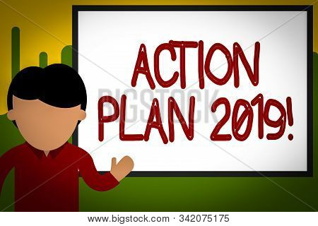 Word writing text Action Plan 2019. Business concept for proposed strategy or course of actions for current year Young man standing in front whiteboard pointing to project. photo Art. stock photo