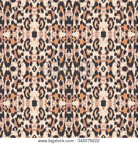 Dirt Cheetah Animal Vector Seamless Pattern. Rusty Handmade Cheetah Handmade Tiles Background. Ochre Handmade Tiles Design. Black Jaguar Printed Tie. stock photo