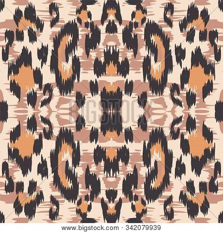 Burnt Leopard Animal Vector Seamless Pattern. Sepia Handmade Leopard Carpet Grunge Painting Texture. Ebony Carpet Grunge Painting Texture. Rusty Panther Fabric Design Graffiti. stock photo