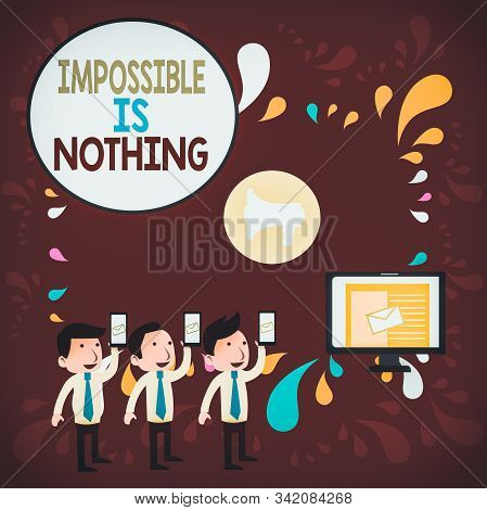 Word writing text Impossible Is Nothing. Business concept for Anything is Possible Believe the Realm of Possibility SMS Email Marketing Media Audience Attraction Personal Computer Loudspeaker. stock photo