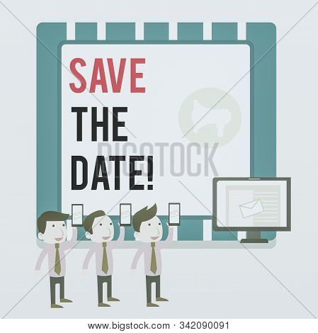 Word writing text Save The Date. Business concept for Organizing events well make day special event organizers SMS Email Marketing Media Audience Attraction Personal Computer Loudspeaker. stock photo
