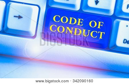 Word writing text Code Of Conduct. Business concept for Ethics rules moral codes ethical principles values respect. stock photo
