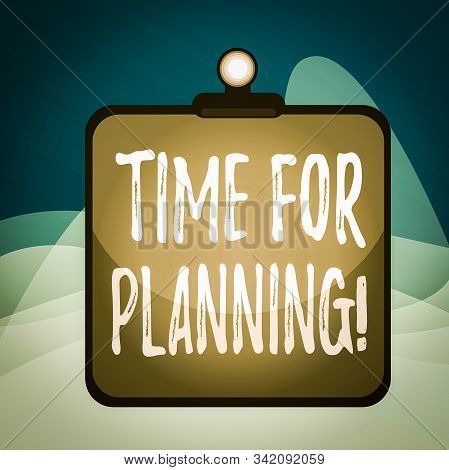 Writing note showing Time For Planning. Business photo showcasing exercising conscious control spent on specific activities Clipboard colorful background spring clip stuck bind empty plank frame. stock photo