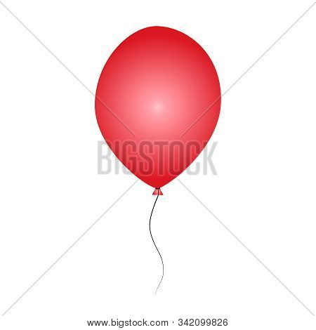 Red balloon isolated on white background. Inflatable ball. Glossy realistic red helium balloon for Birthday party, anniversary, Holiday, Valentines day and celebrations event design. Stock vector stock photo