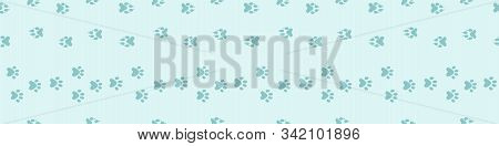 Footpath trail of animal snow seamless pattern. Dog or cat paws print vector isolated on white background. Trail footpath wildlife, footprint silhouette illustration. Traces of animals in the snow. stock photo