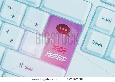 Word writing text Important Announcement. Business concept for spoken statement that tells showing about something White pc keyboard with empty note paper above white background key copy space. stock photo
