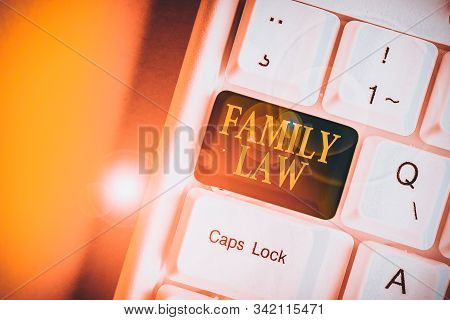 Handwriting text Family Law. Concept meaning the branch of law that deals with matters relating to the family White pc keyboard with empty note paper above white background key copy space. stock photo