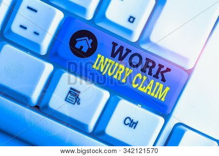 Conceptual hand writing showing Work Injury Claim. Business photo showcasing Medical care reimbursement Employee compensation White pc keyboard with note paper above the white background. stock photo
