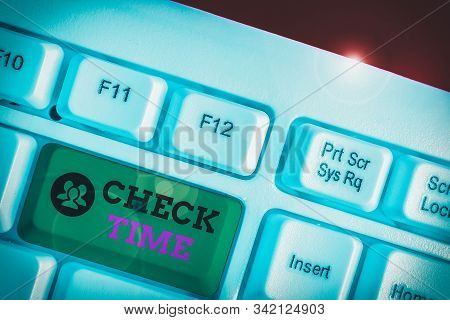 Text sign showing Check Time. Conceptual photo instance of checking the time taken to cover a specific distance. stock photo
