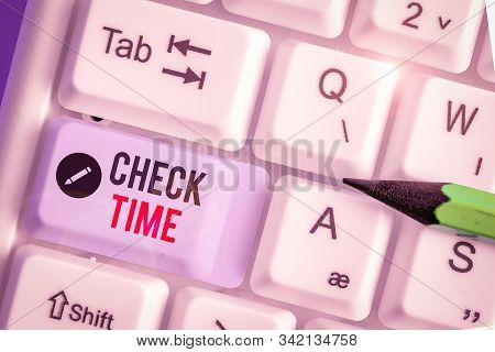 Conceptual hand writing showing Check Time. Business photo showcasing instance of checking the time taken to cover a specific distance. stock photo