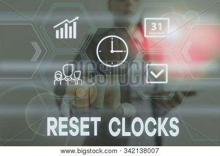 Conceptual hand writing showing Reset Clocks. Business photo text To revisit return to or recreate a time or era from the past Woman wear work suit presenting presentation smart device. stock photo