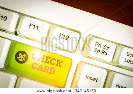Text sign showing Check Card. Conceptual photo allows an account holder to access funds in her account. stock photo