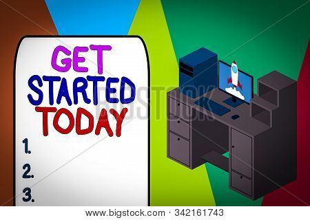 Word writing text Get Started Today. Business concept for lets do it Dont hesitate Now or never Get going No delay Working desktop station drawers personal computer launching rocket clouds. stock photo