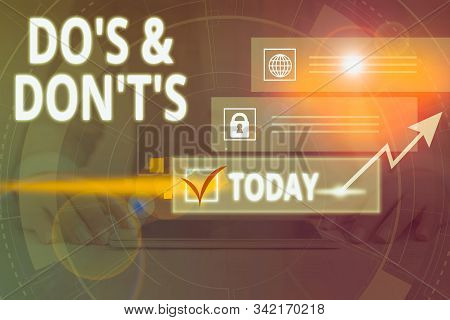 Writing note showing Do S And Don T S. Business photo showcasing Confusion in one s is mind about something Picture photo network scheme with modern smart device. stock photo