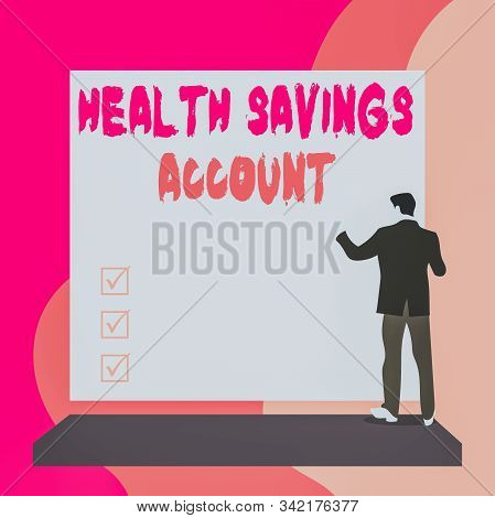Conceptual hand writing showing Health Savings Account. Business photo text users with High Deductible Health Insurance Policy Back view young woman watching blank big rectangle. stock photo