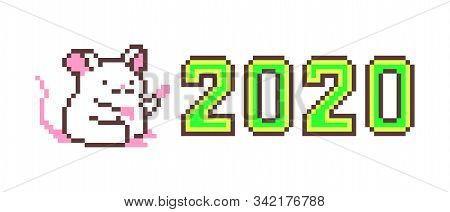 Pixel art Happy New Year greeting card with cute white mouse character pointing at big green 2020 number isolated on white background. 8 bit calendar illustration. Winter print with chinese zodiac rat stock photo