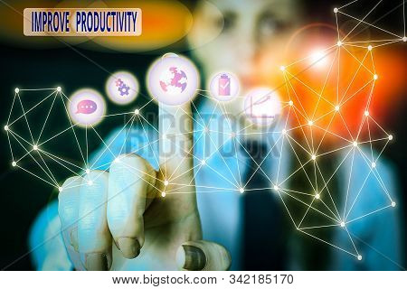 Word writing text Improve Productivity. Business concept for to increase the machine and process efficiency Picture photo system network scheme modern technology smart device. stock photo