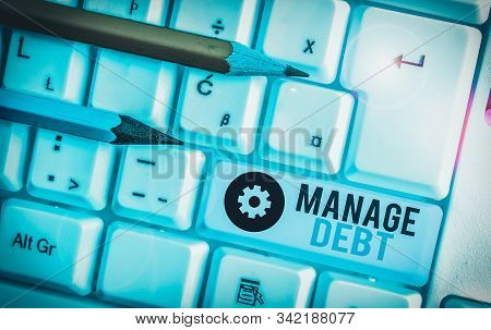 Writing note showing Manage Debt. Business photo showcasing unofficial agreement with unsecured creditors for repayment. stock photo