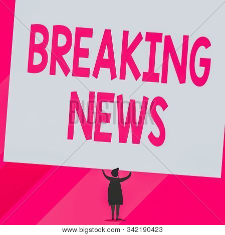 Conceptual hand writing showing Breaking News. Business photo showcasing Special Report Announcement Happening Current Issue Flashnews Short hair woman dress hands up holding blank rectangle. stock photo
