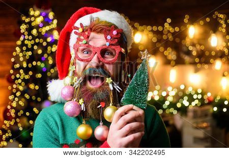 Christmas tree. Bearded Santa Claus in party glasses holds small Christmas tree. Christmas beard style. Happy Santa with decoration balls in beard holds fir-tree. Merry Christmas and happy new year stock photo