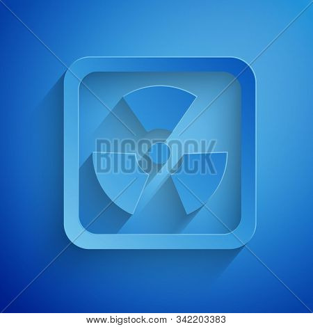 Paper cut Radioactive icon isolated on blue background. Radioactive toxic symbol. Radiation Hazard sign. Paper art style. Vector Illustration stock photo