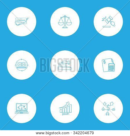 Economy icons line style set with contract, money flow, stock growth and other financial calculation elements. Isolated illustration economy icons. stock photo