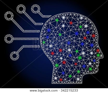 Glowing white mesh neural interface with glitter effect. Abstract illuminated model of neural interface. Shiny wire frame polygonal network neural interface icon. stock photo