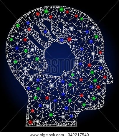 Glossy white mesh mental imprinting with lightspot effect. Abstract illuminated model of mental imprinting. Shiny wire frame triangular mesh mental imprinting icon. stock photo