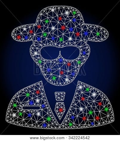 Glowing white mesh secure agent with sparkle effect. Abstract illuminated model of secure agent. Shiny wire carcass triangular mesh secure agent icon. stock photo