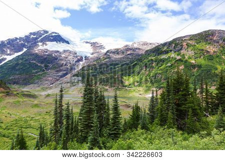 Picturesque mountain view in the Canadian Rockies in summer season stock photo