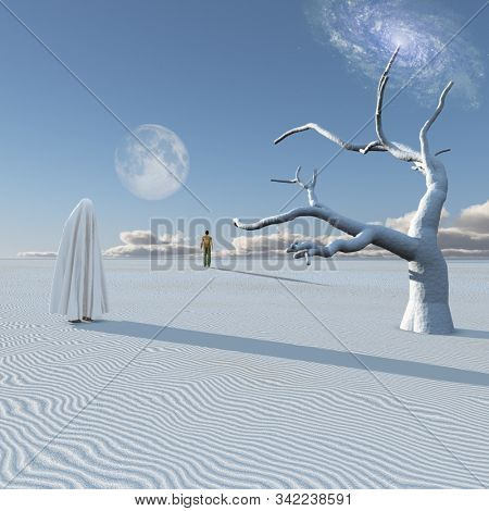 Figure in white cloth stands in surreal white desert. Lonely man in a distance. Planet Zen. 3D rendering stock photo
