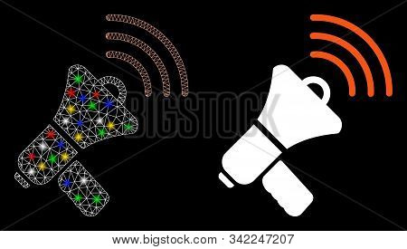 Glowing mesh megaphone ads icon with glare effect. Abstract illuminated model of megaphone ads. Shiny wire frame polygonal mesh megaphone ads icon. Vector abstraction on a black background. stock photo