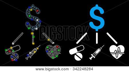 Bright mesh medical budget icon with glitter effect. Abstract illuminated model of medical budget. Shiny wire carcass polygonal network medical budget icon. Vector abstraction on a black background. stock photo