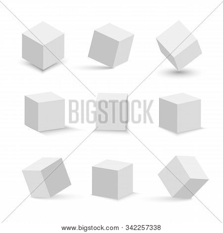 White cubes set. 3D abstract box with shadow. Geometric set. stock photo
