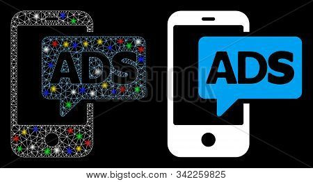 Glossy mesh mobile ads icon with glitter effect. Abstract illuminated model of mobile ads. Shiny wire carcass triangular mesh mobile ads icon. Vector abstraction on a black background. stock photo