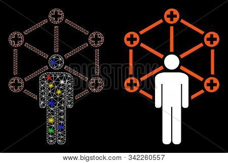 Bright mesh medical network administrator icon with glare effect. Abstract illuminated model of medical network administrator. Shiny wire carcass polygonal mesh medical network administrator icon. stock photo