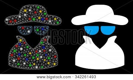 Flare mesh spy icon with glare effect. Abstract illuminated model of spy. Shiny wire frame triangular network spy icon. Vector abstraction on a black background. stock photo