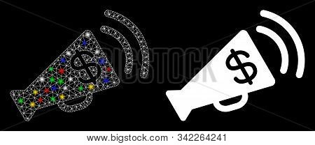 Glossy mesh ads megaphone budget icon with glare effect. Abstract illuminated model of ads megaphone budget. Shiny wire carcass polygonal network ads megaphone budget icon. stock photo