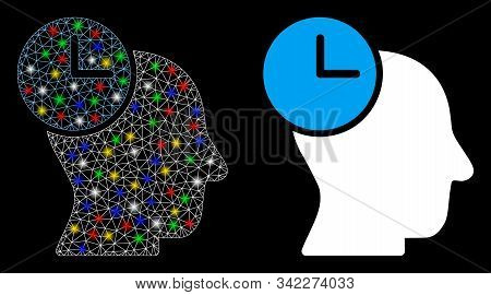 Glowing mesh time thinking icon with glitter effect. Abstract illuminated model of time thinking. Shiny wire frame polygonal mesh time thinking icon. Vector abstraction on a black background. stock photo