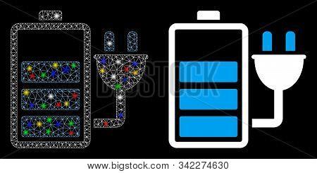 Glossy mesh charge battery icon with sparkle effect. Abstract illuminated model of charge battery. Shiny wire frame triangular mesh charge battery icon. Vector abstraction on a black background. stock photo