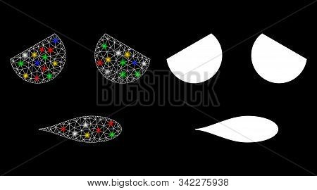 Glowing mesh sad emoticon smiley icon with glitter effect. Abstract illuminated model of sad emoticon smiley. Shiny wire frame triangular mesh sad emoticon smiley icon. stock photo