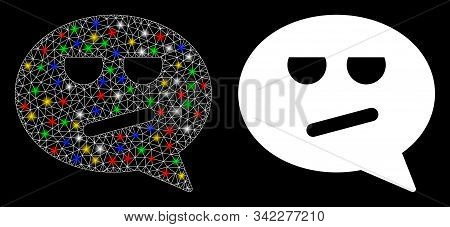 Glossy mesh bored smiley message icon with glitter effect. Abstract illuminated model of bored smiley message. Shiny wire frame triangular mesh bored smiley message icon. stock photo